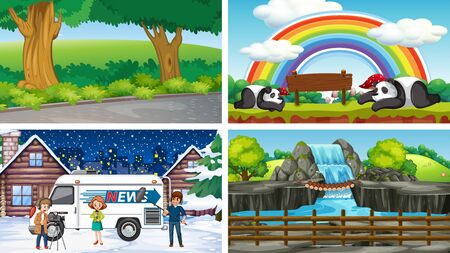 Four scenes of different locations illustration