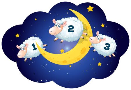 Counting sheeps at night on white background illustration