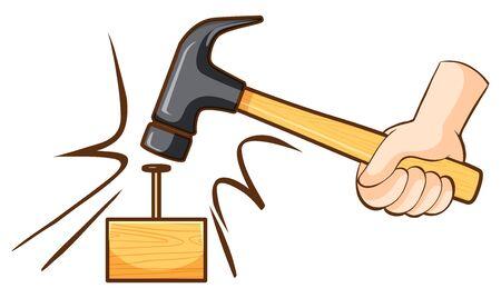 Hammer hitting nail on wooden block illustration Illustration