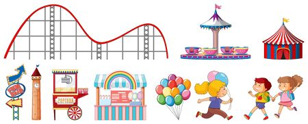 Isolated objects from circus theme with children and rides illustration