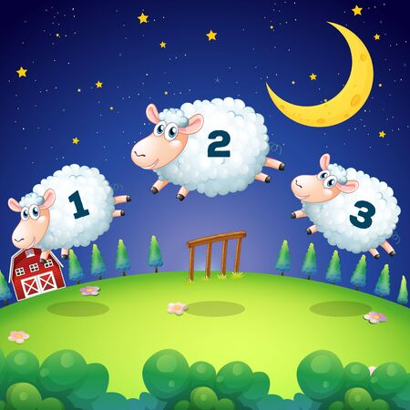 Counting sheeps jumping over the fence illustration