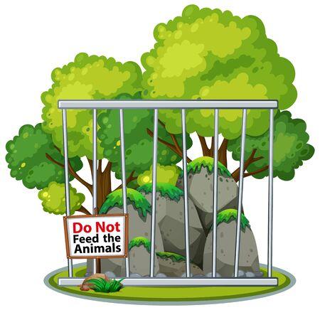 Background scene of park with metal bars illustration