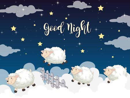 Background scene of sheeps jumping over fence illustration