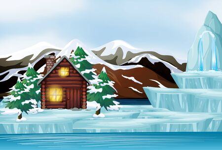 Scene with house in the snow mountain illustration Иллюстрация