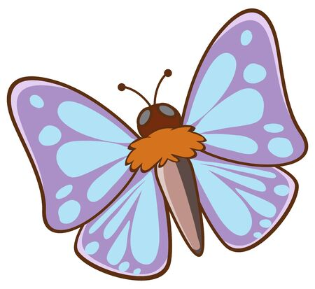 Moth flying on white background illustration