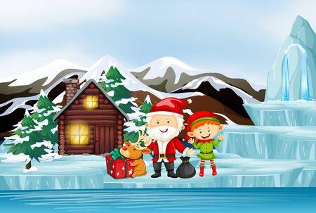 Scene with santa and elf in winter illustration