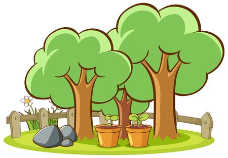 Isolated picture of trees in the park illustration Stock Illustratie