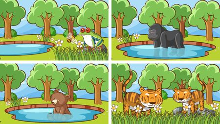 Background scenes of animals in the wild illustration Ilustrace