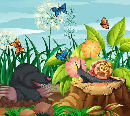 Background scene with mole and butterflies in garden illustration