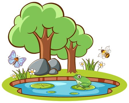 Isolated picture of frog and insects illustration Ilustracja