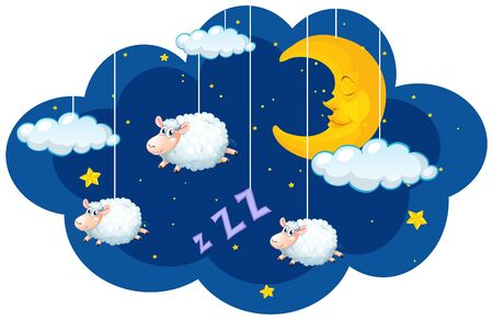 Sheep hanging in the dark sky illustration