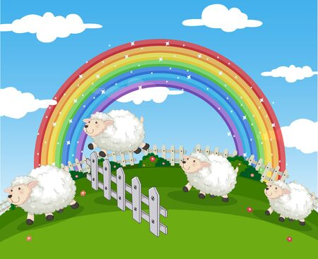 Background scene of farm with sheeps and rainbow illustration