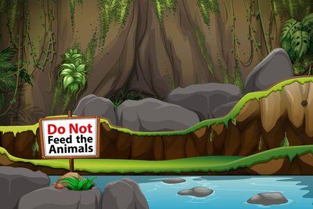 Background scene of park with no feeding sign illustration