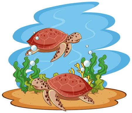 Scene with sea turtles in the sea illustration