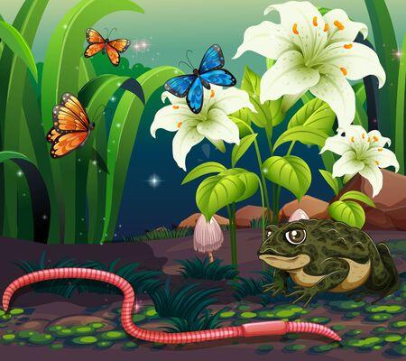 Background scene with animals in garden at night illustration Ilustracja