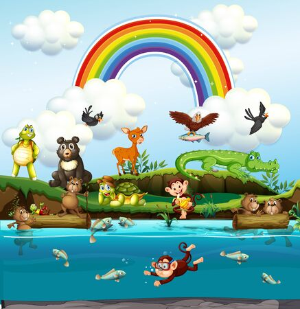 Many cute animals by the river illustration