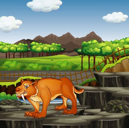 Scene with sabertooth in the zoo illustration Illustration
