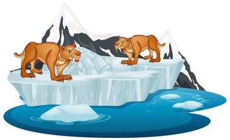Sabertooth on winter iceberg illustration