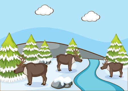Scene with reindeers on snow mountain illustration 向量圖像