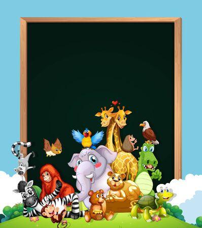 Border template design with cute animals illustration Stock Illustratie