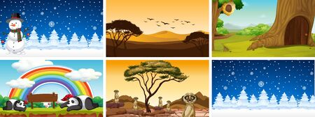 Six scenes of nature at different time illustration Çizim