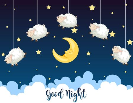 Night with sheeps in the sky illustration