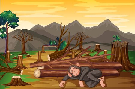 Background scene with monkey and deforestation illustration