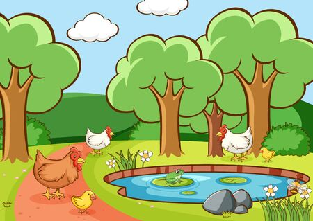 Scene with chickens in the park illustration