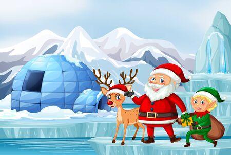 Scena con illustrazione di Babbo Natale e renne