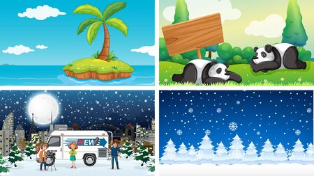 Four background scenes of nature illustration