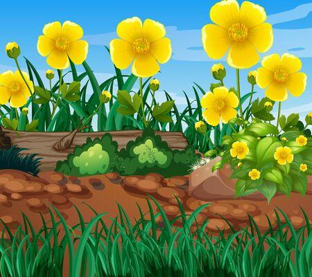 Background scene with nature theme illustration Illustration