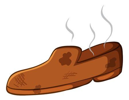 Dirty shoe on white background illustration