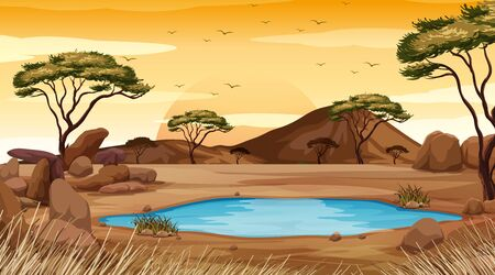 Background scene with pond in the desert land illustration