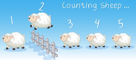 Sheeps jumping over the fence illustration