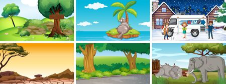 Six scenes with different locations illustration