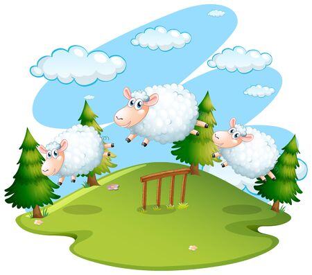 Background scene of field with jumping sheeps illustration