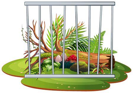 Background scene of garden with wooden log behind bars illustration  イラスト・ベクター素材