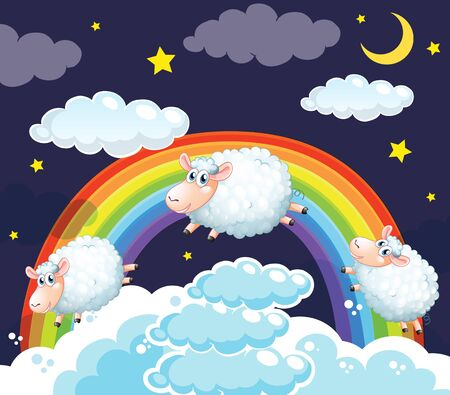 Background scene of sheep jumping in the clouds illustration