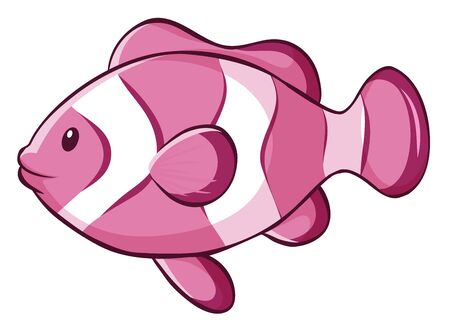Pink clownfish on white background illustration Vectores