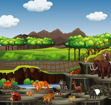 Scene with many animals in open zoo illustration Illustration