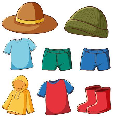 Satz von isolierten Kleidungsillustrationen