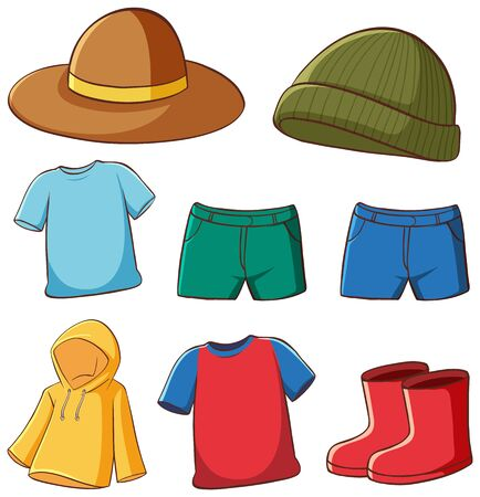Set of isolated clothes illustration