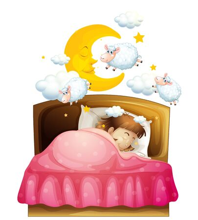 Girl sleeping in bed dreaming of sheeps illustration