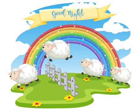 Background scene of sheeps jumping over the fence illustration