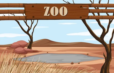 Background scene of zoo with sign illustration