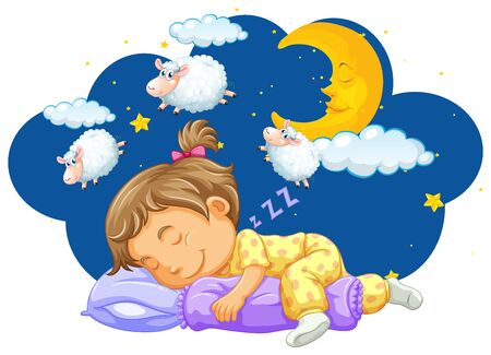 Girl sleeping with counting sheeps in her dream illustration