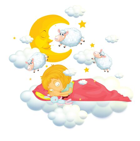 Girl in bed dreaming and counting sheeps illustration