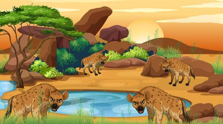 Scene with hyena in the savana field illustration