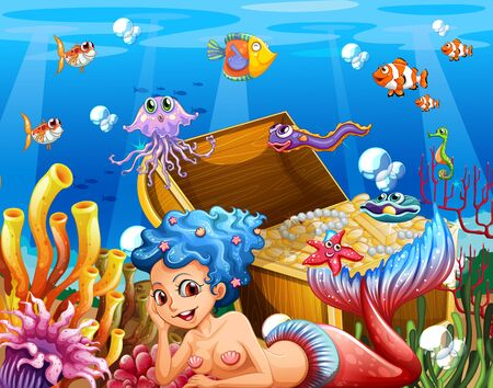 Underwater scene with beautiful mermaid illustration Ilustración de vector