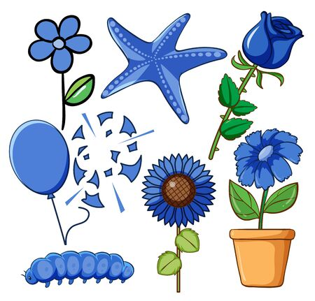 Set of flowers and other things in blue color illustration Иллюстрация